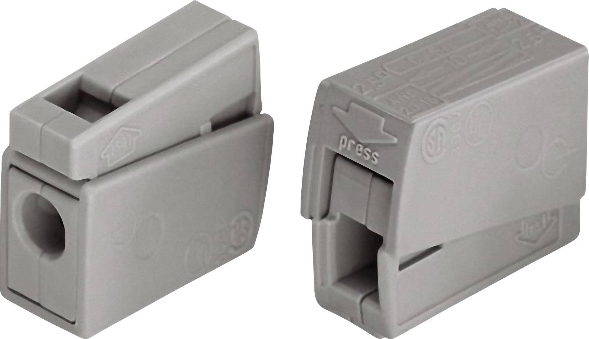 Svietidlové svorky WAGO EUCHTENKLEMME 224-101 na kábel s rozmerom 0.5-2.5 mm², tuhosť 0.5-2.5 mm², počet pinov 2, 1 ks, sivá