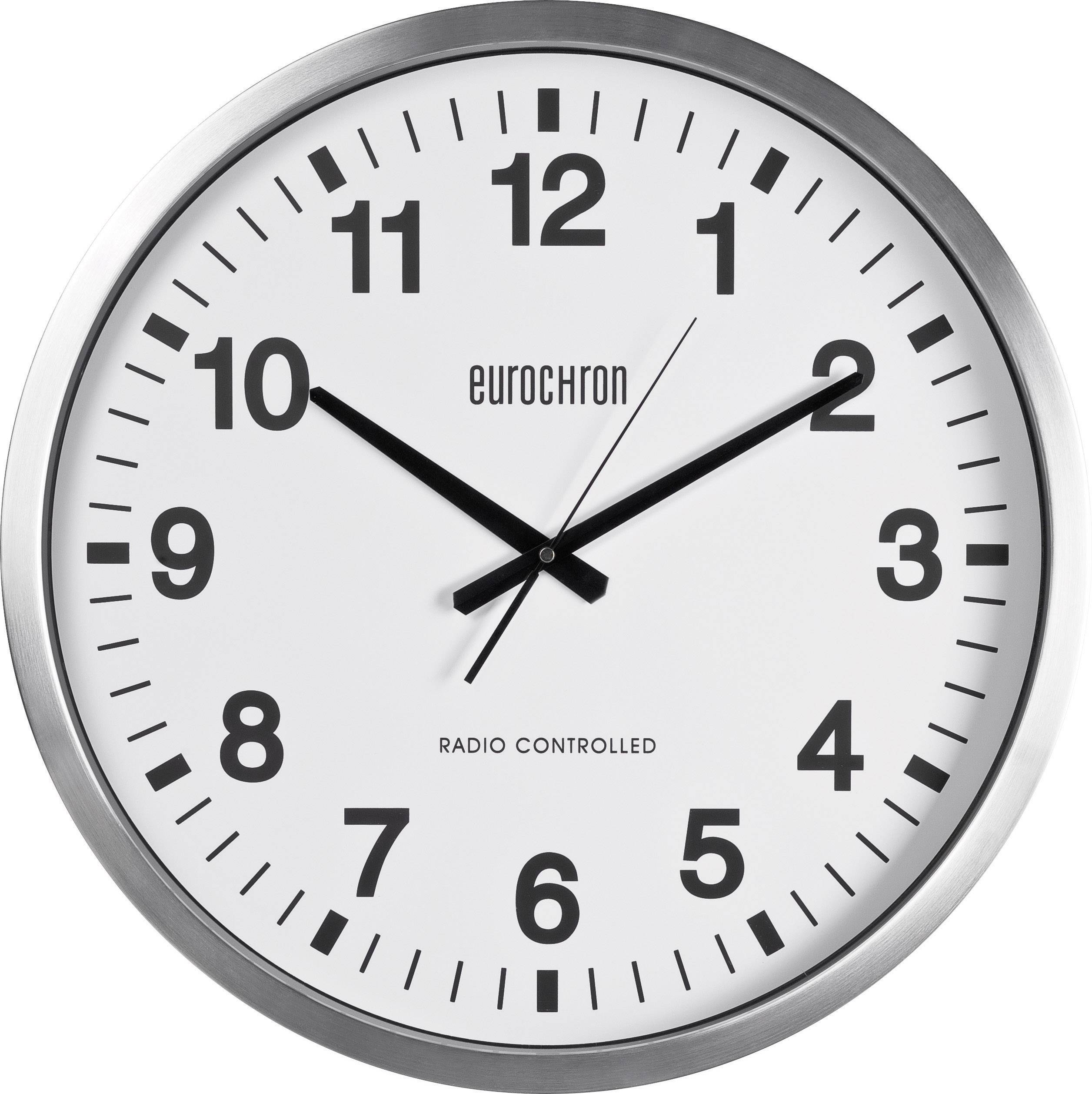Analógové nástenné DCF hodiny Eurochron EFWU 9000, Ø 50 cm, strieborné