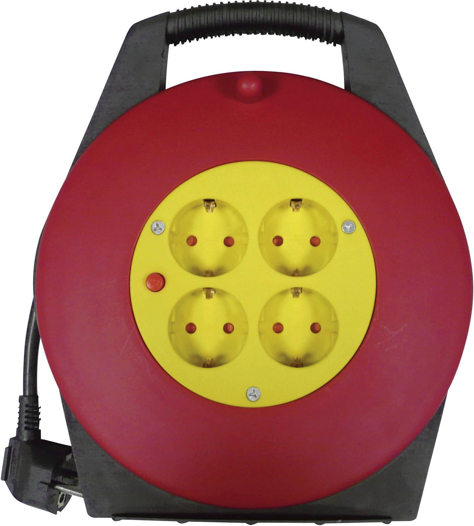 Kabelový buben, 4 zásuvky, 10 m, 230 V, černá, červená