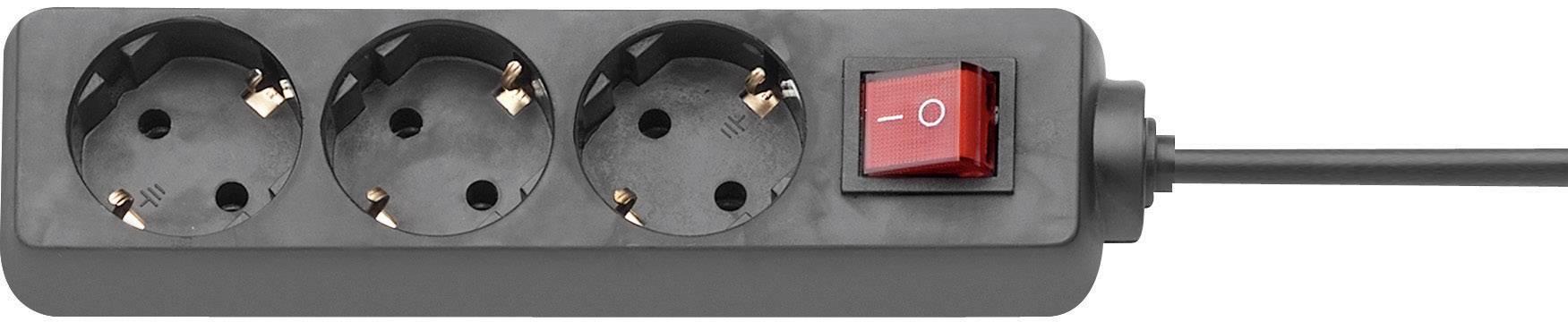 Zásuvková lišta s podsvieteným vypínačom, 1,4 m -čierna