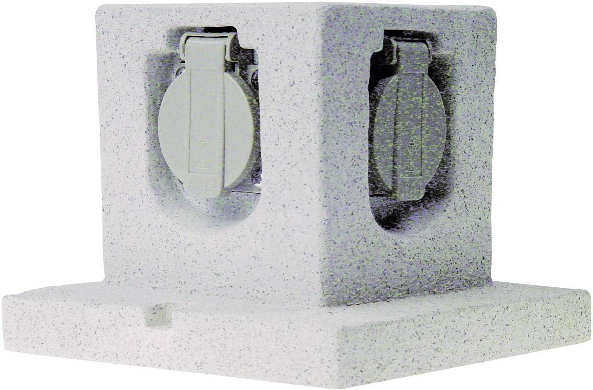 Záhradná zásuvka ELRO Stone GL40, kamenná sivá, 4-násobný