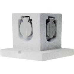 Záhradná zásuvka Smartwares Stone GL40, kamenná sivá, 4-násobný