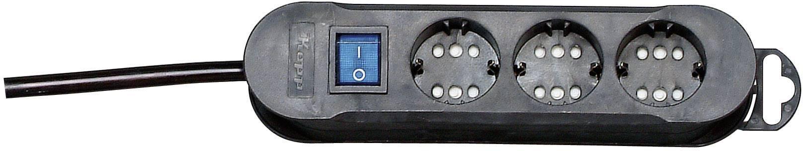 Zásuvková lišta se spínačem Kopp, 3 zásuvky, černá