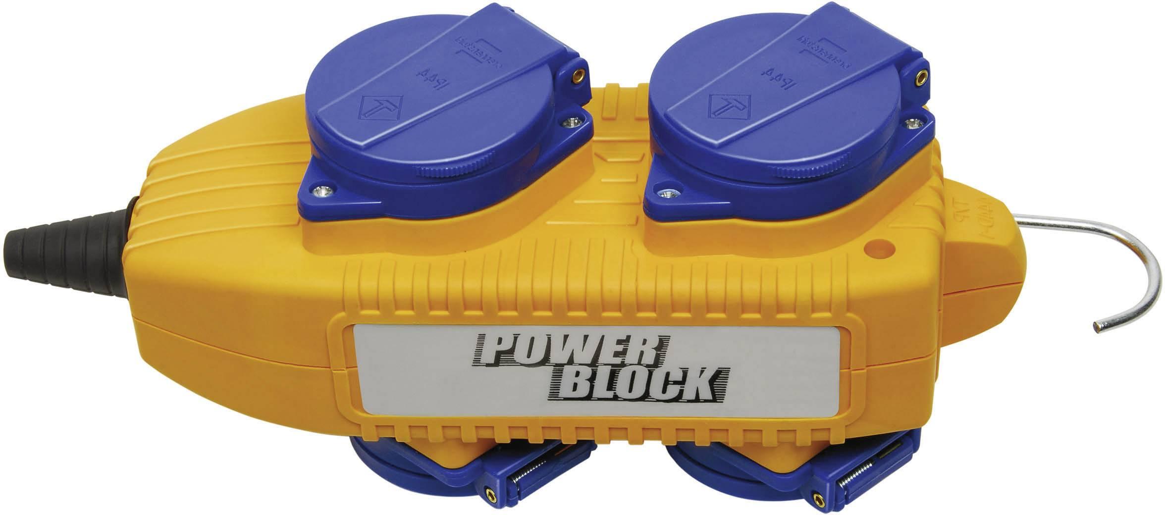 Zásuvková lišta bez vypínača, počet zásuviek 4 Brennenstuhl Powerblock 230V/16A IP44 1081070, IP44, žltá, modrá