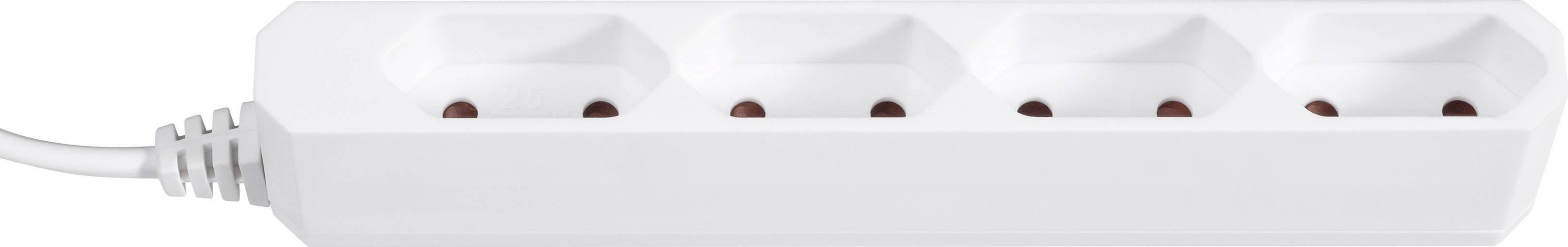 Zásuvková lišta GAO, 4 zásuvky, biela