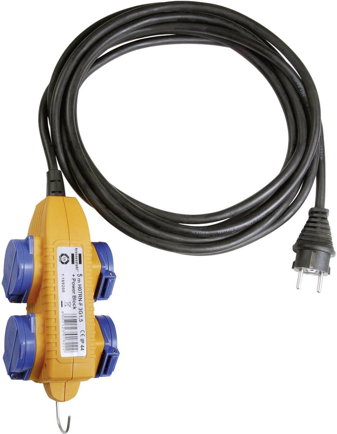 Zásuvková lišta bez vypínača, počet zásuviek 4 Brennenstuhl 1169200, IP44, 5 m, žltá, modrá