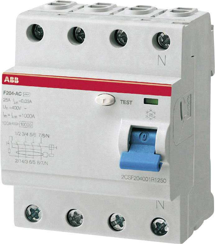 Prúdový chránič ABB 2CSF204101R1250, 4-pólové, 25 A, 0.03 A, 230 V/AC, 400 V/AC