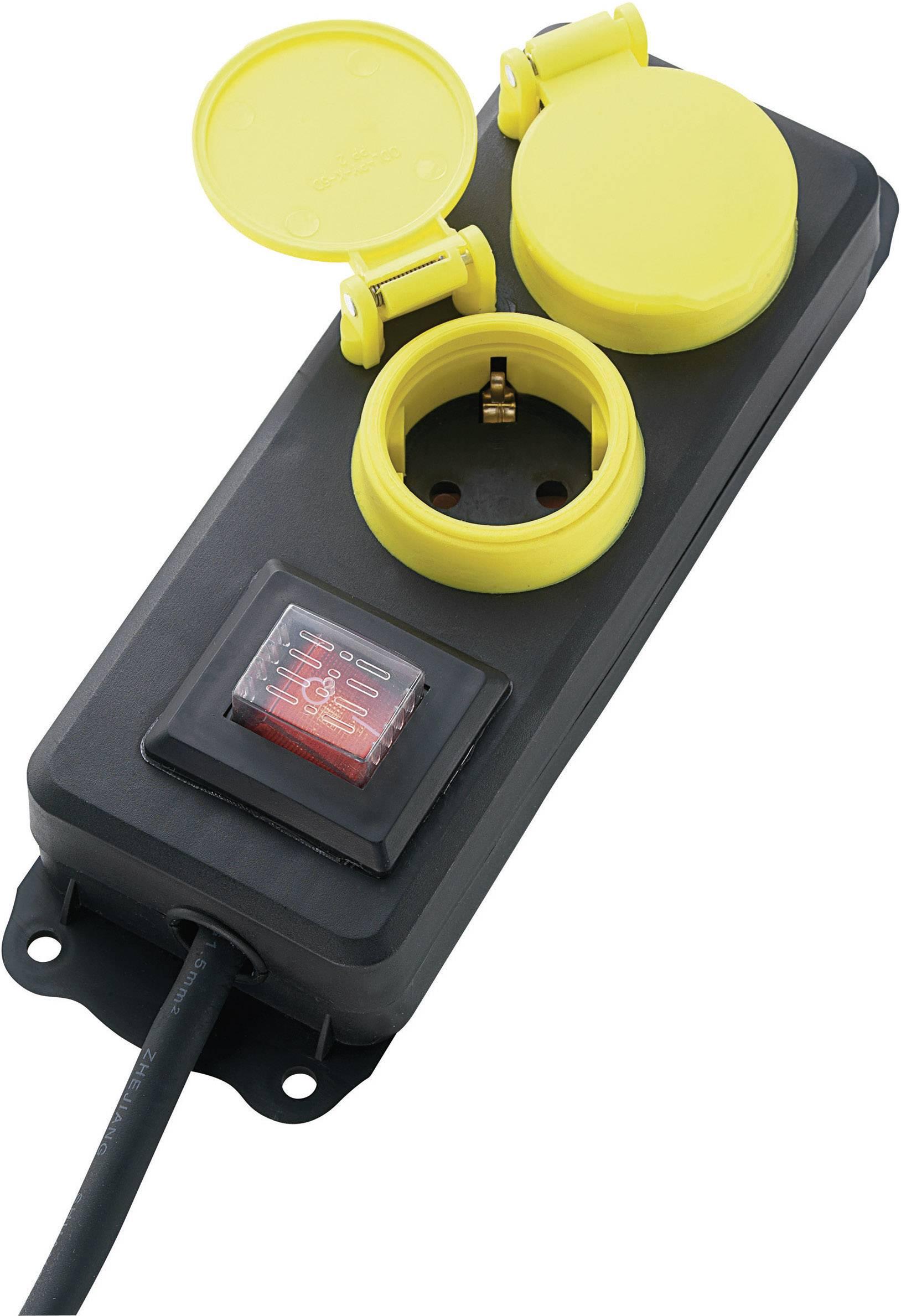 Zásuvková lišta s vypínačom, počet zásuviek 2 622334, 1.50 m, čierna, žltá