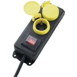 Zásuvková lišta se spínačem, 2 žluté zásuvky, dětská pojistka, černá