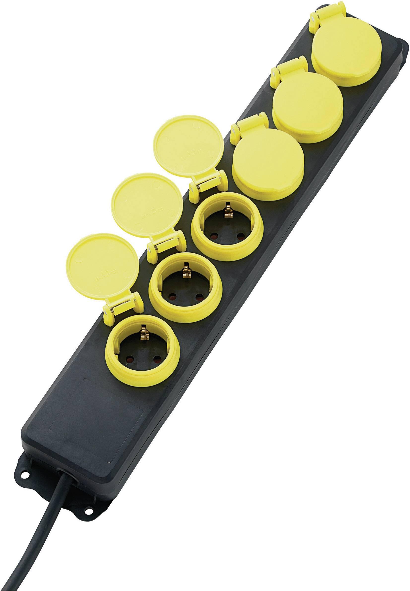 Zásuvková lišta bez vypínača, počet zásuviek 6 622335, 1.50 m, čierna, žltá