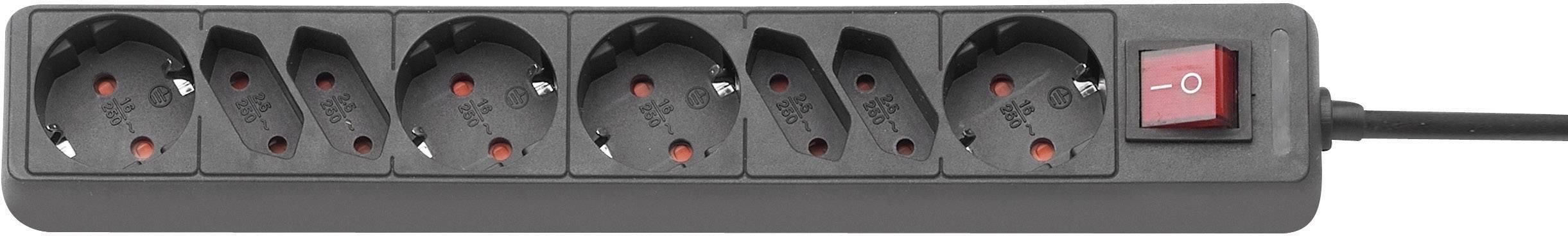 Zásuvková lišta s podsvieteným vypínačom, 3,0 m - čierna