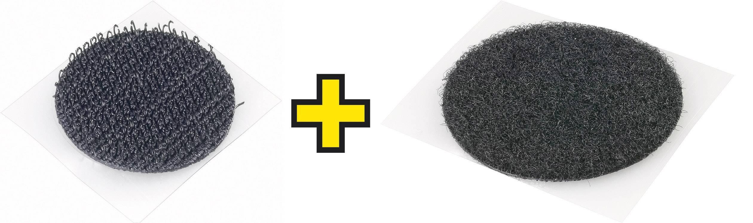 Samolepicí kulatý suchý zip Fastech, 25 mm, černá, 1 pár
