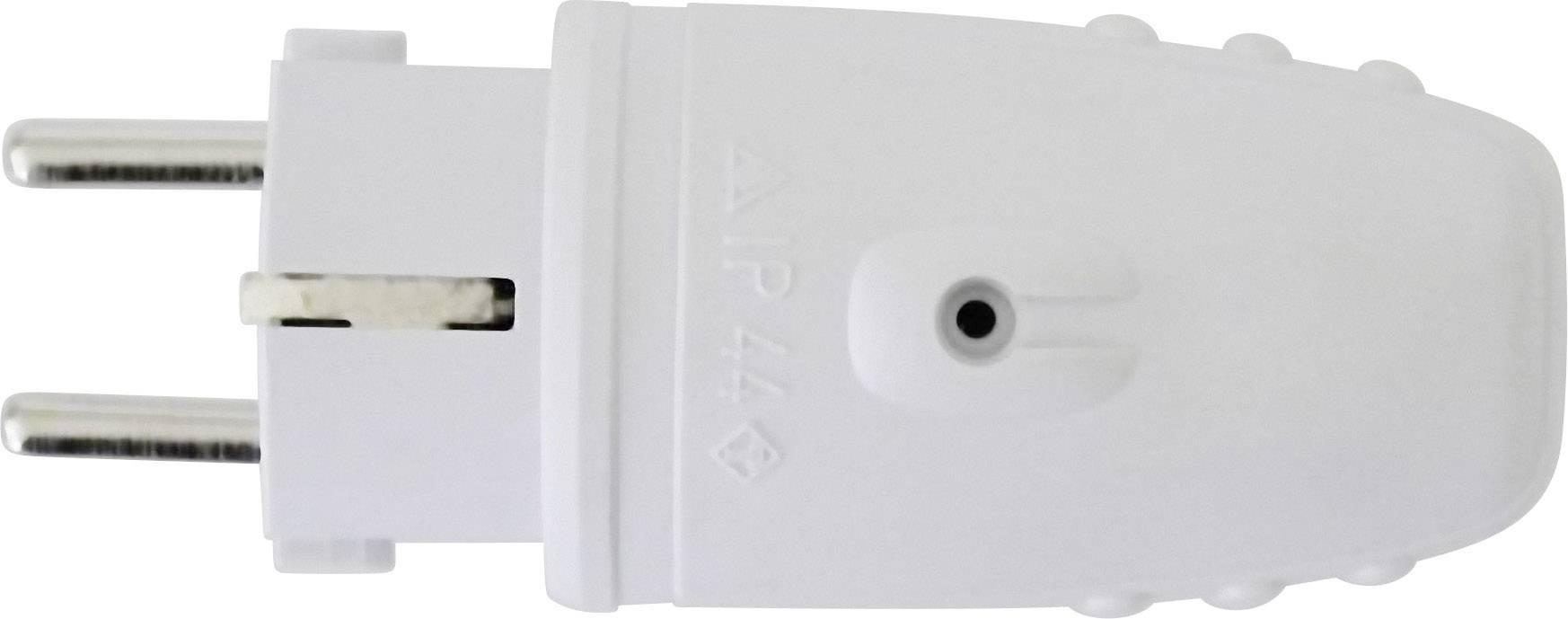 Zástrčka SchuKo 624400, guma, IP20, 230 V, svetlosivá