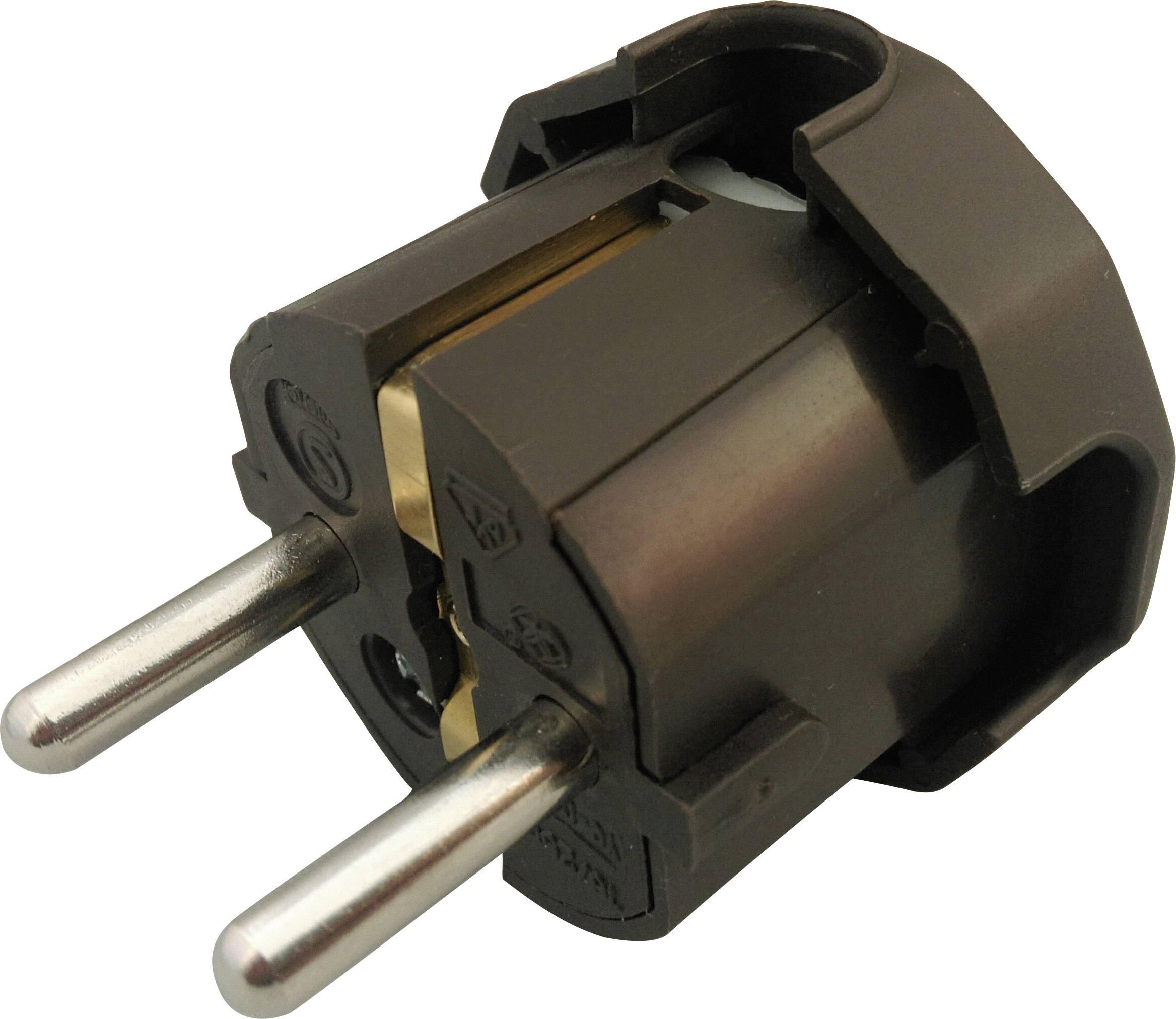 Úhlová zástrčka SchuKo 624438, umelá hmota, IP20, 230 V, hnedá