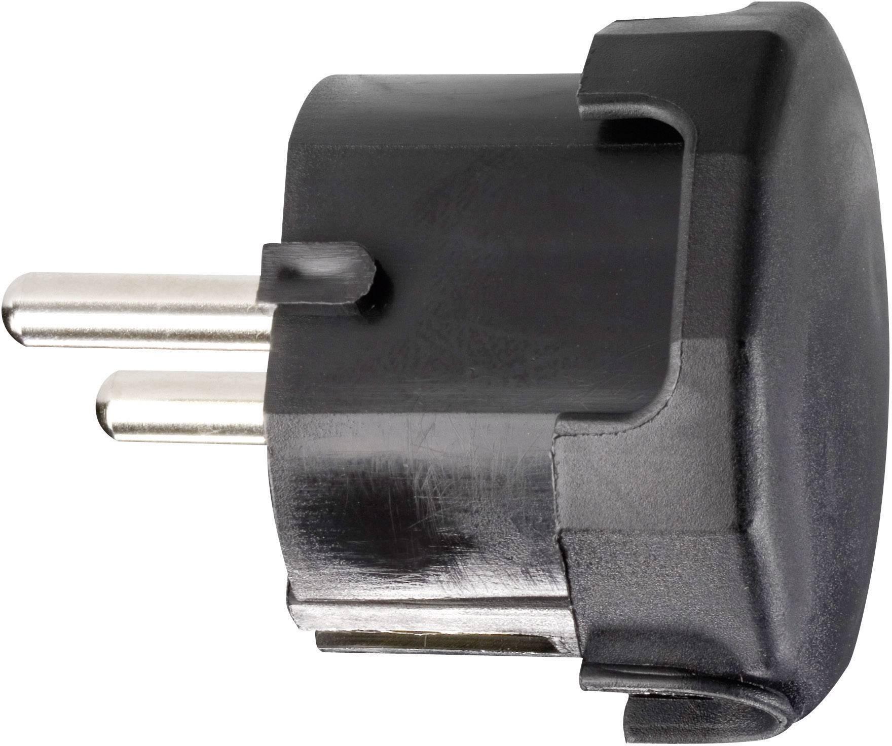 Úhlová zástrčka SchuKo 624446, umelá hmota, IP20, 230 V, čierna