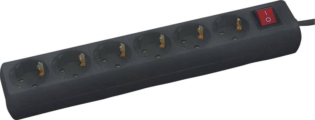 Zásuvková lišta s podsvieteným vypínačom, 1,4 m - čierna