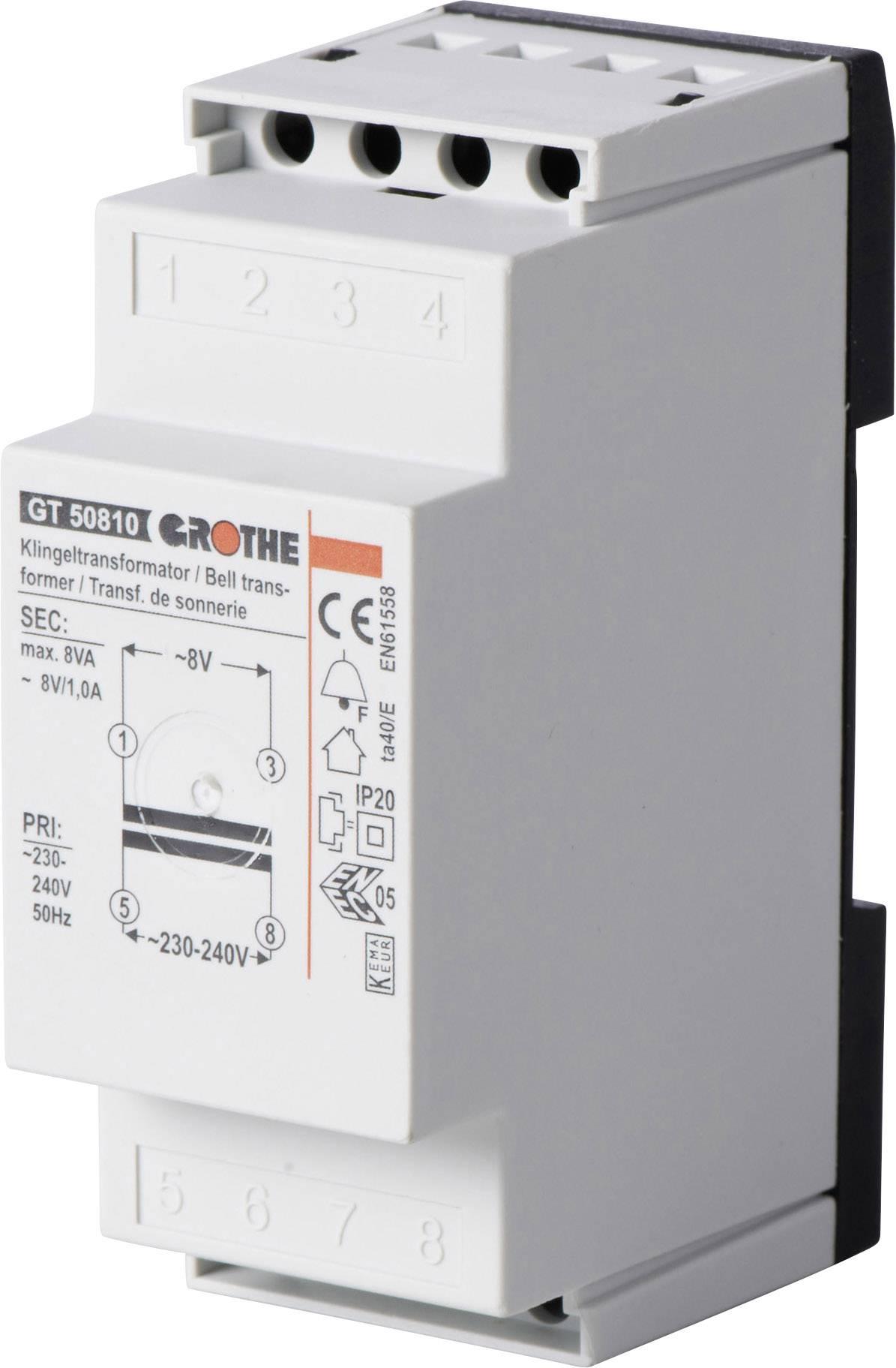 Zvonkový transformátor na lištu Heidemann 70042, 8 V/AC , bílá/šedá