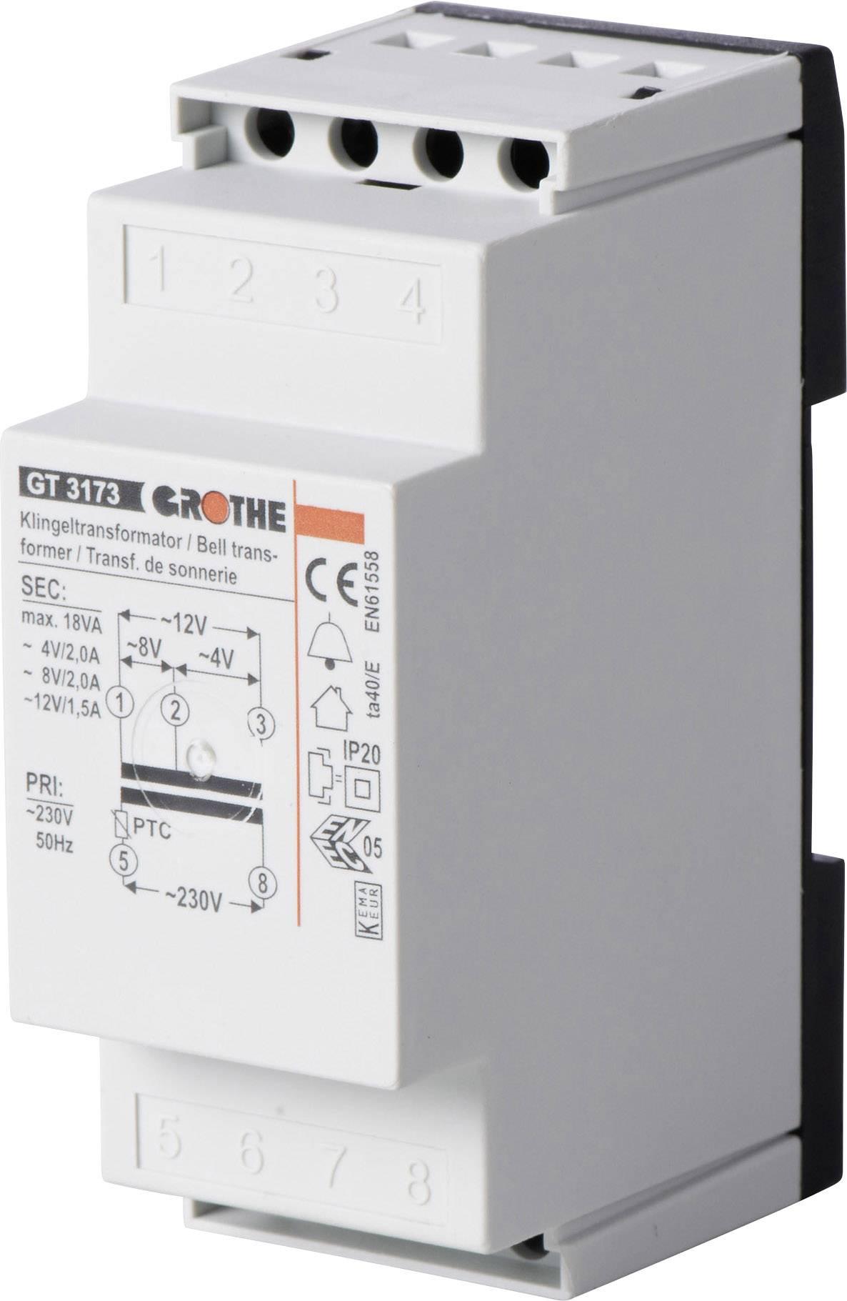 Zvonkový transformátor na lištu Heidemann 70044, 4/8/12V/AC, bílá