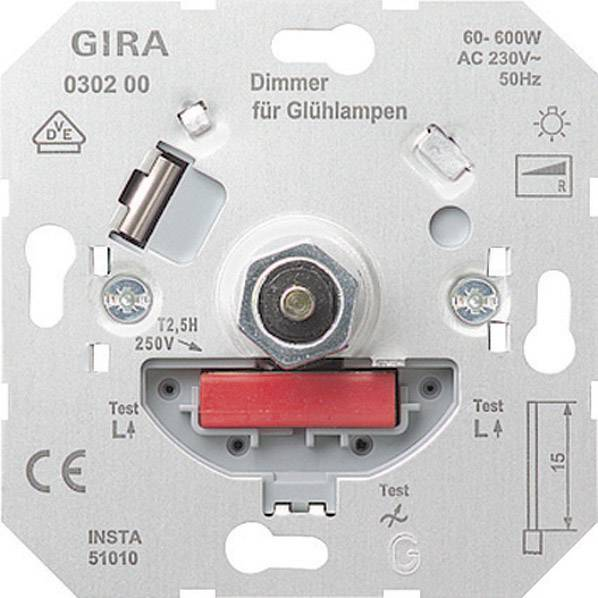 Stmívač Gira, max. 600 W, systém 55 (030200)