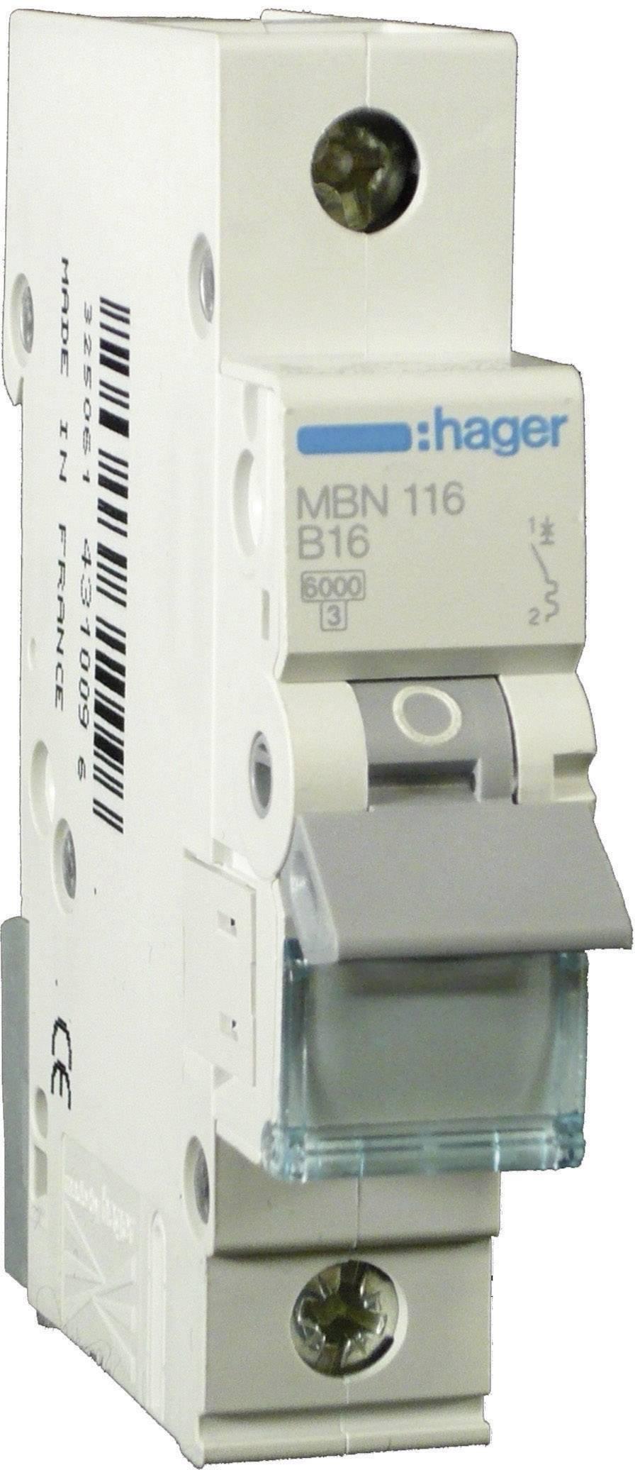 Elektrický istič Hager MBN110, 1-pólový, 10 A