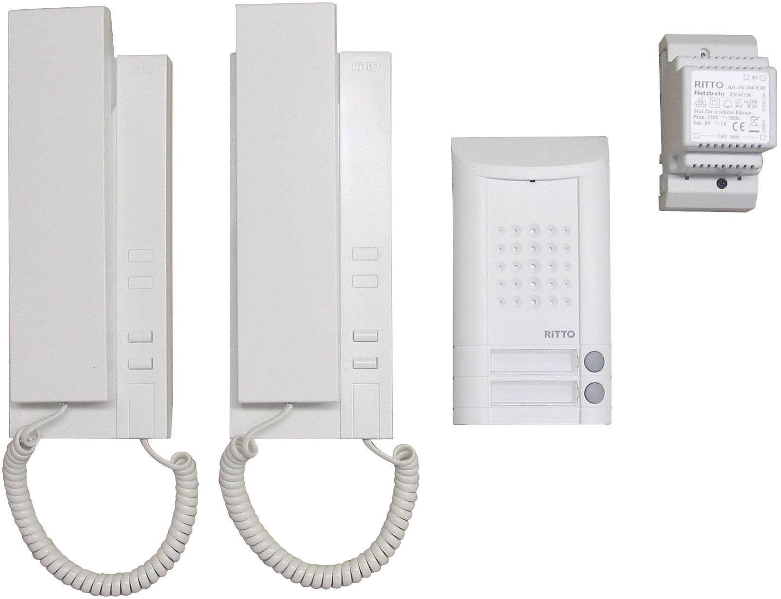 Domový telefón Ritto pre rodinný dom, 2 stanice s telefónom, 1x zvonček
