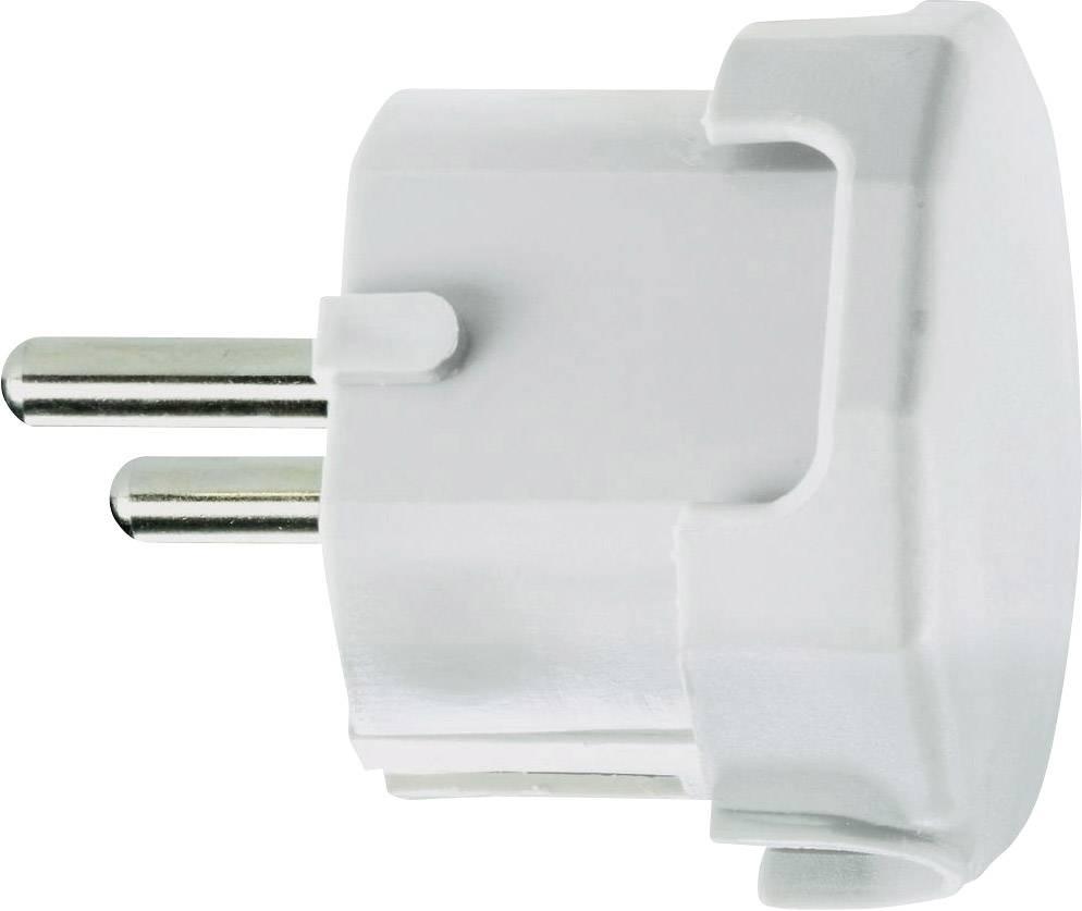 Úhlová zástrčka SchuKo 627615, umelá hmota, IP20, 230 V, biela