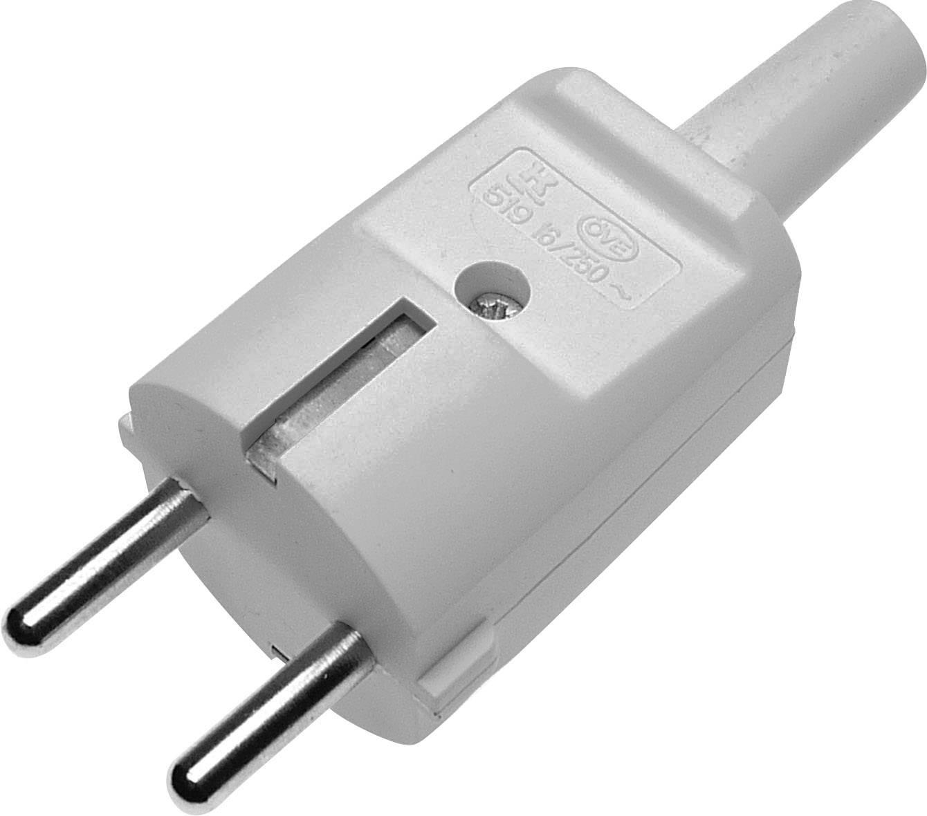 Zástrčka SchuKo 627623, PVC, IP20, 230 V, sivá