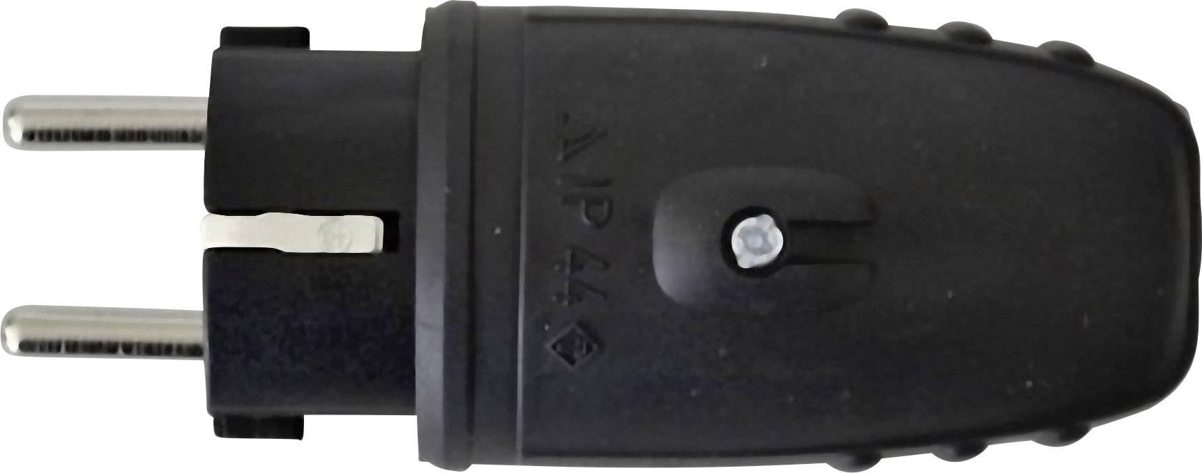 Zástrčka SchuKo 627631, guma, IP44, 230 V, čierna