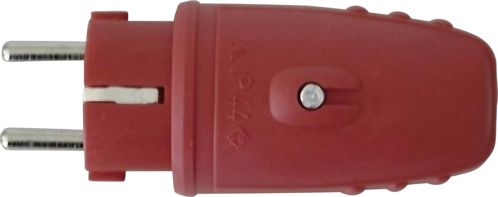 Zástrčka SchuKo 627712, guma, IP20, 230 V, červená