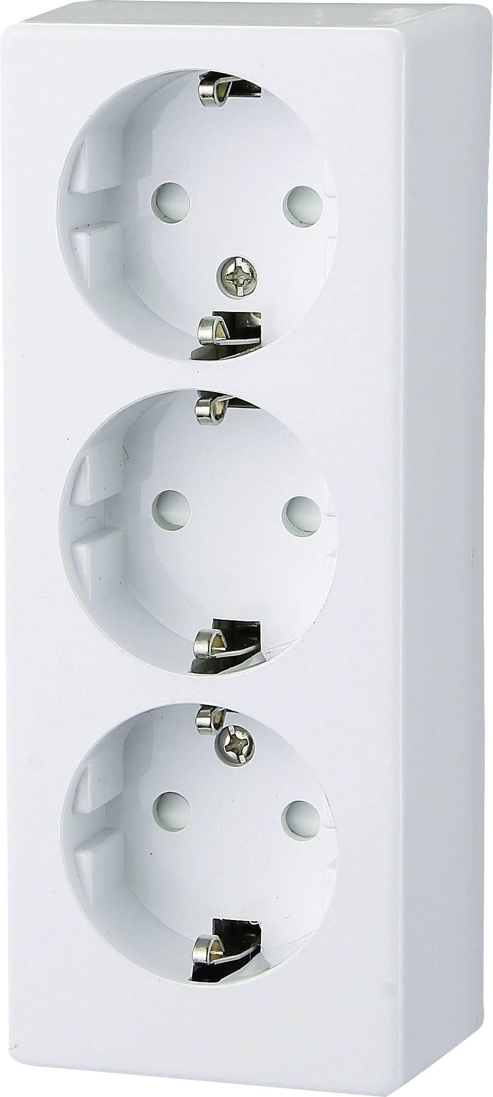 Zásuvka na omietku GAO Prolux 0306, 3-násobná, polárna biela