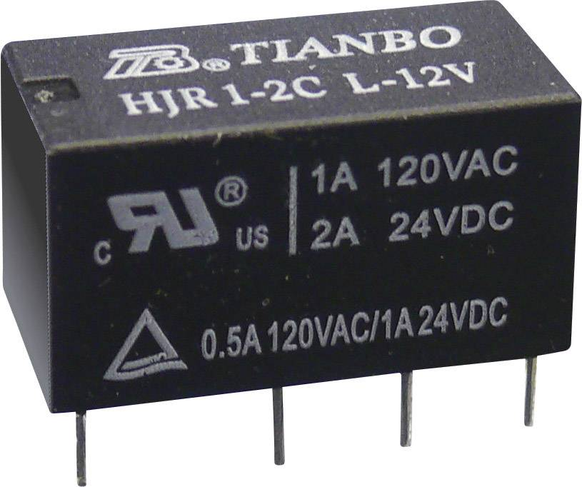 Relé do DPS Tianbo Electronics HJR1-2C-L-05VDC, 5 V/DC, 2 A, 2 prepínacie, 1 ks