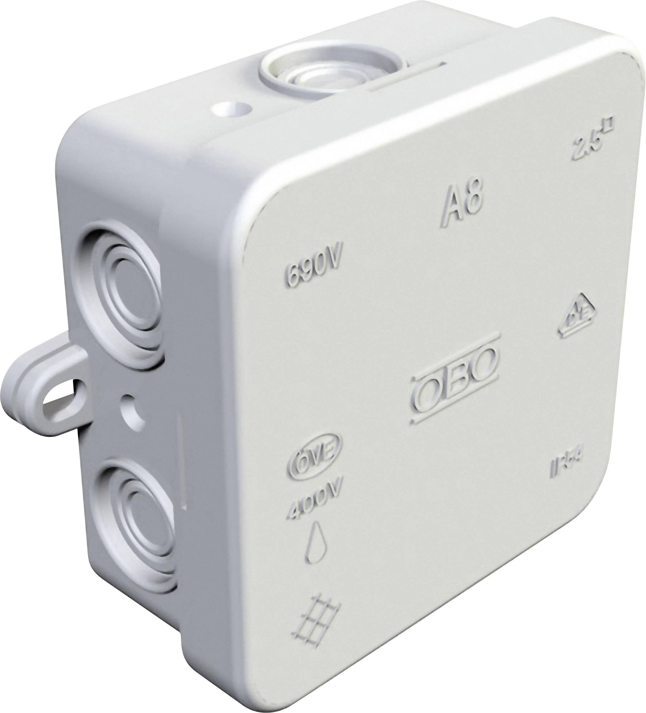 Rozbočovací krabice pro povrchovou montáž na omítku, do vlhkého prostředí OBO Bettermann 352800000, (d x š x v) 80 x 80 x 36 mm, IP54, světle šedá