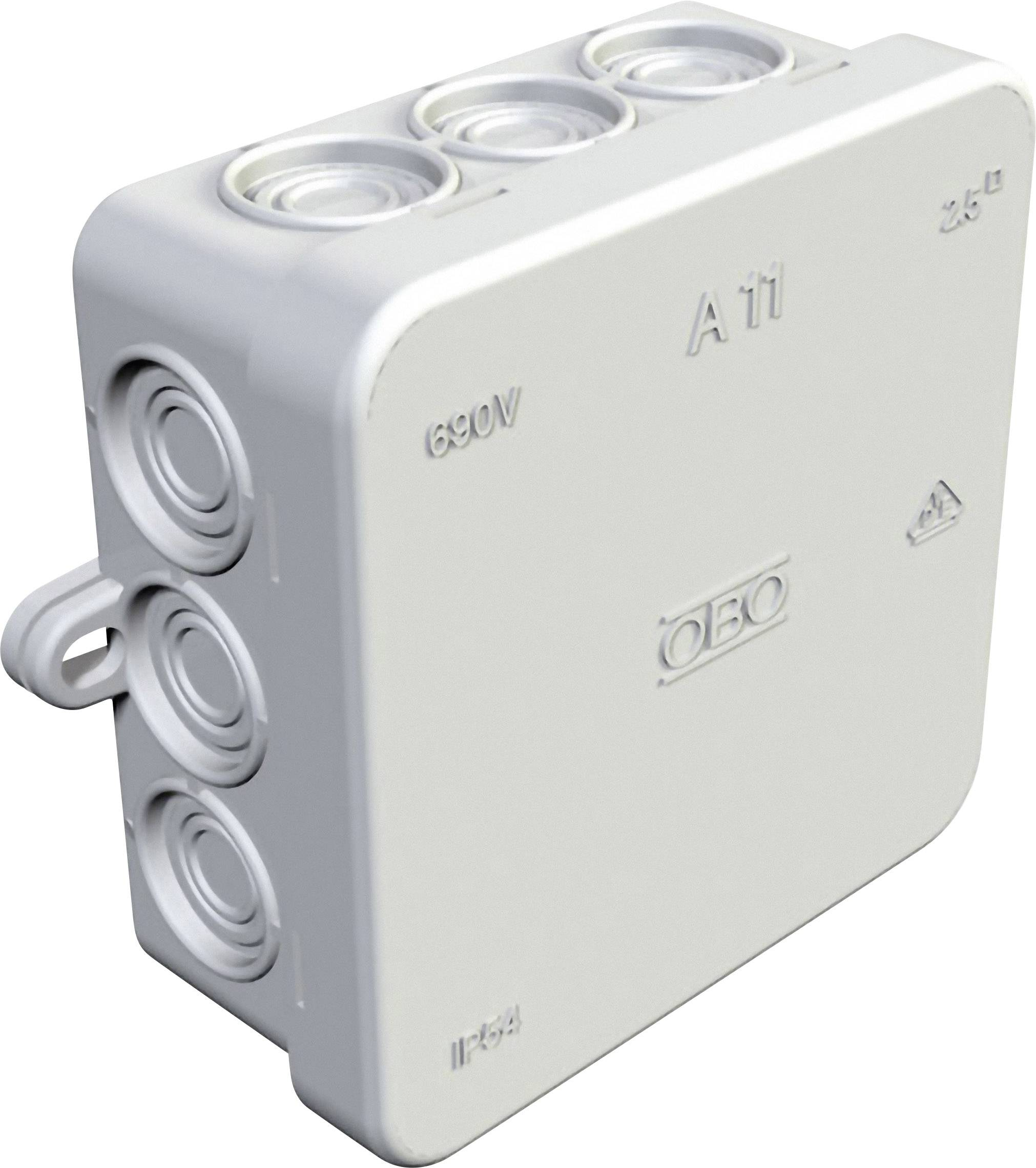 Inštalačná rozbočovacia krabička 347114008, (d x š x v) 85 x 85 x 40.5 mm, IP54, svetlo sivá