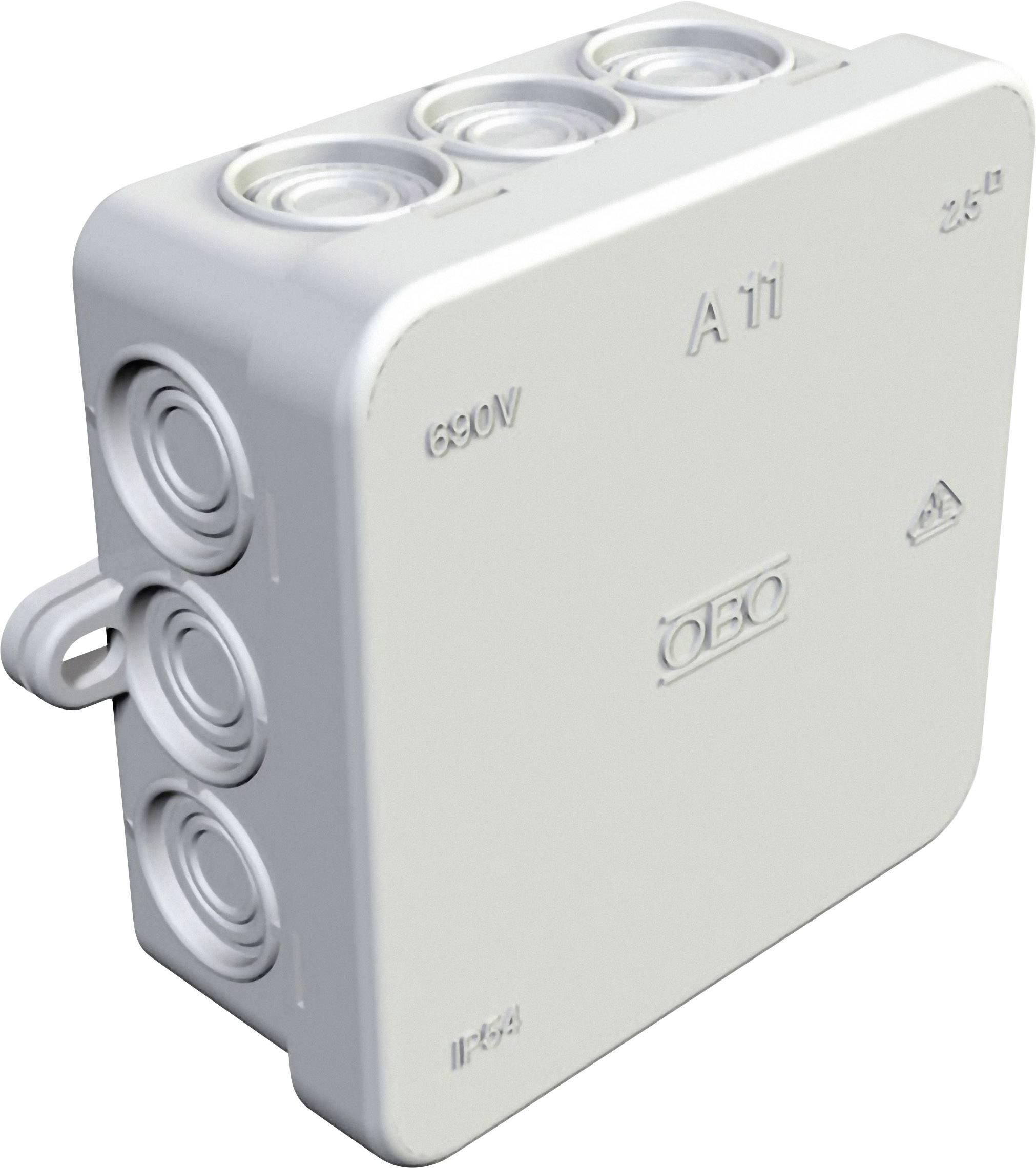 Rozbočovací krabice pro povrchovou montáž na omítku, do vlhkého prostředí OBO Bettermann 347114008, (d x š x v) 85 x 85 x 40.5 mm, IP54, světle šedá