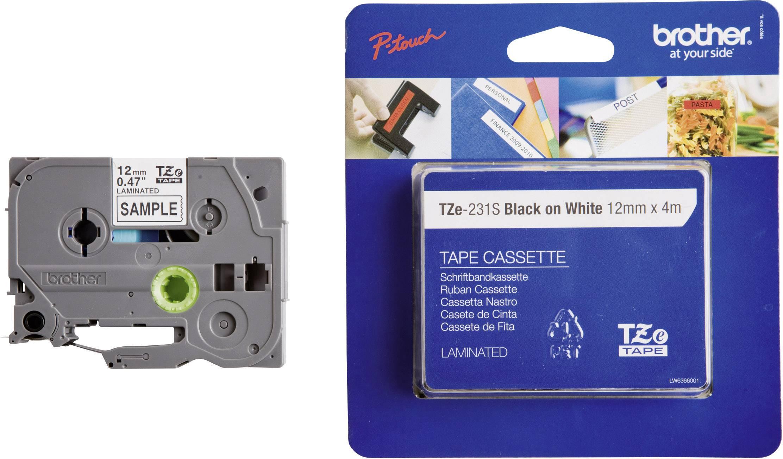 Páska do štítkovača Brother TZe-231S, 5834728, 12 mm, TZe, TZ, 4 m, čierna / biela