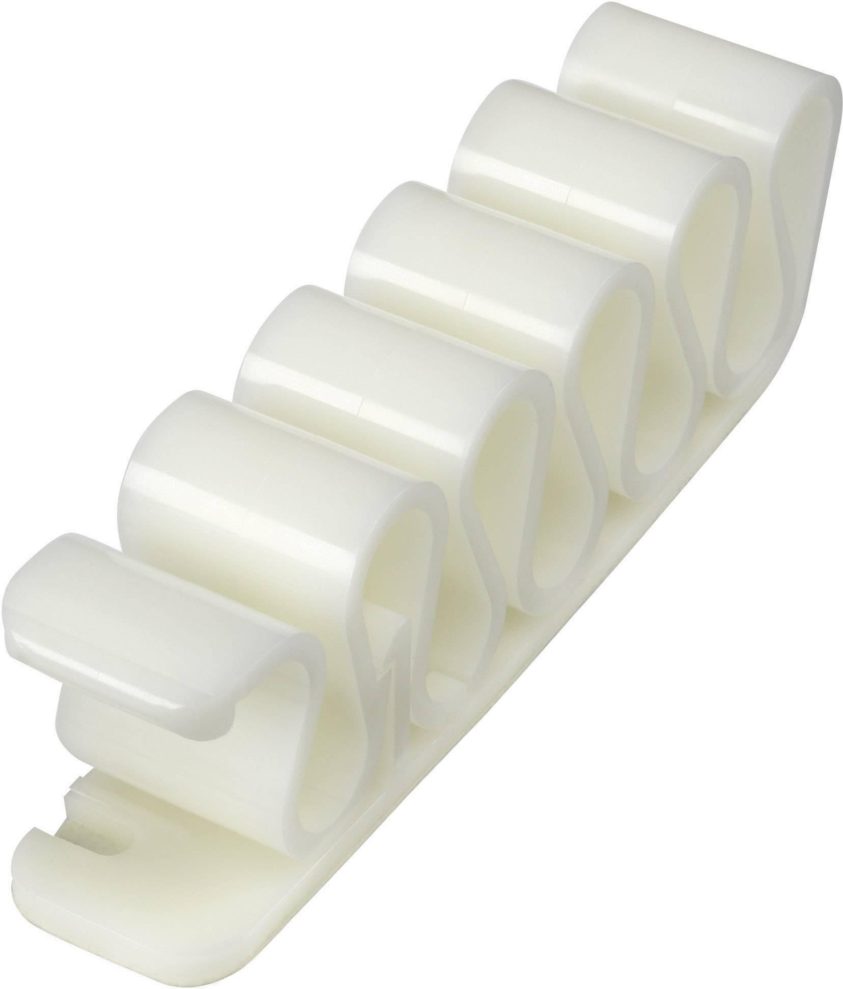 Kabelová spona 630914, samolepicí, 8 mm (max), bílá, 1 ks
