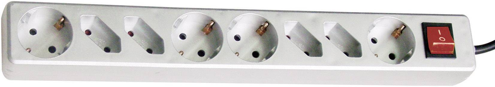 Zásuvková lišta s podsvieteným vypínačom, 3,0 m - titán