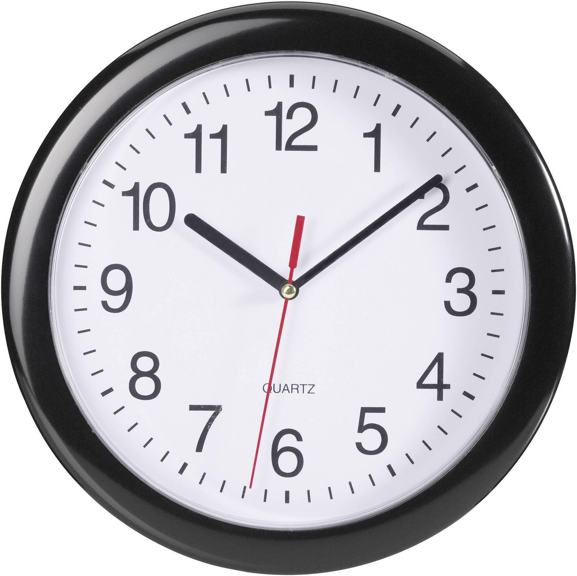 Quartz nástenné hodiny EUROTIME 22221, Vonkajší Ø 25 cm, čierna