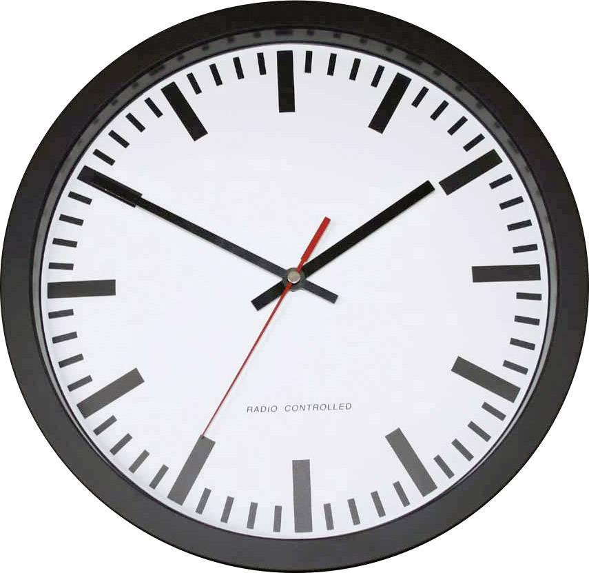 Nádražní DCF nástěnné hodiny 56805, Vnější Ø 30 cm, černá