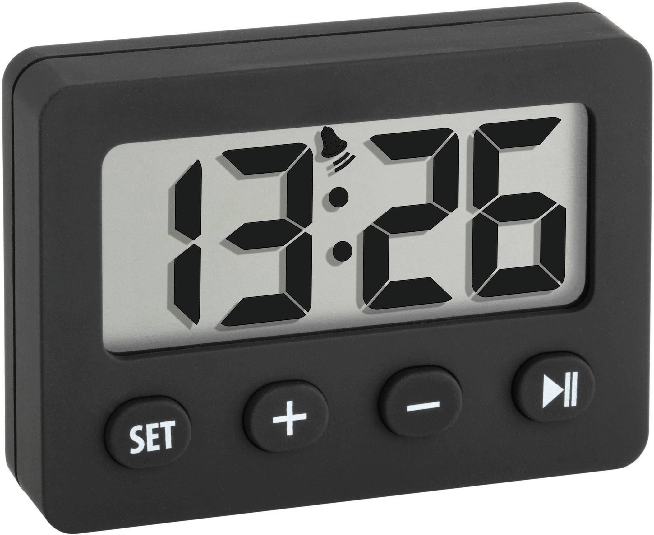 Digitální budík s časovačem a stopkami, 60-2014-01, 42 x 59 mm, černá