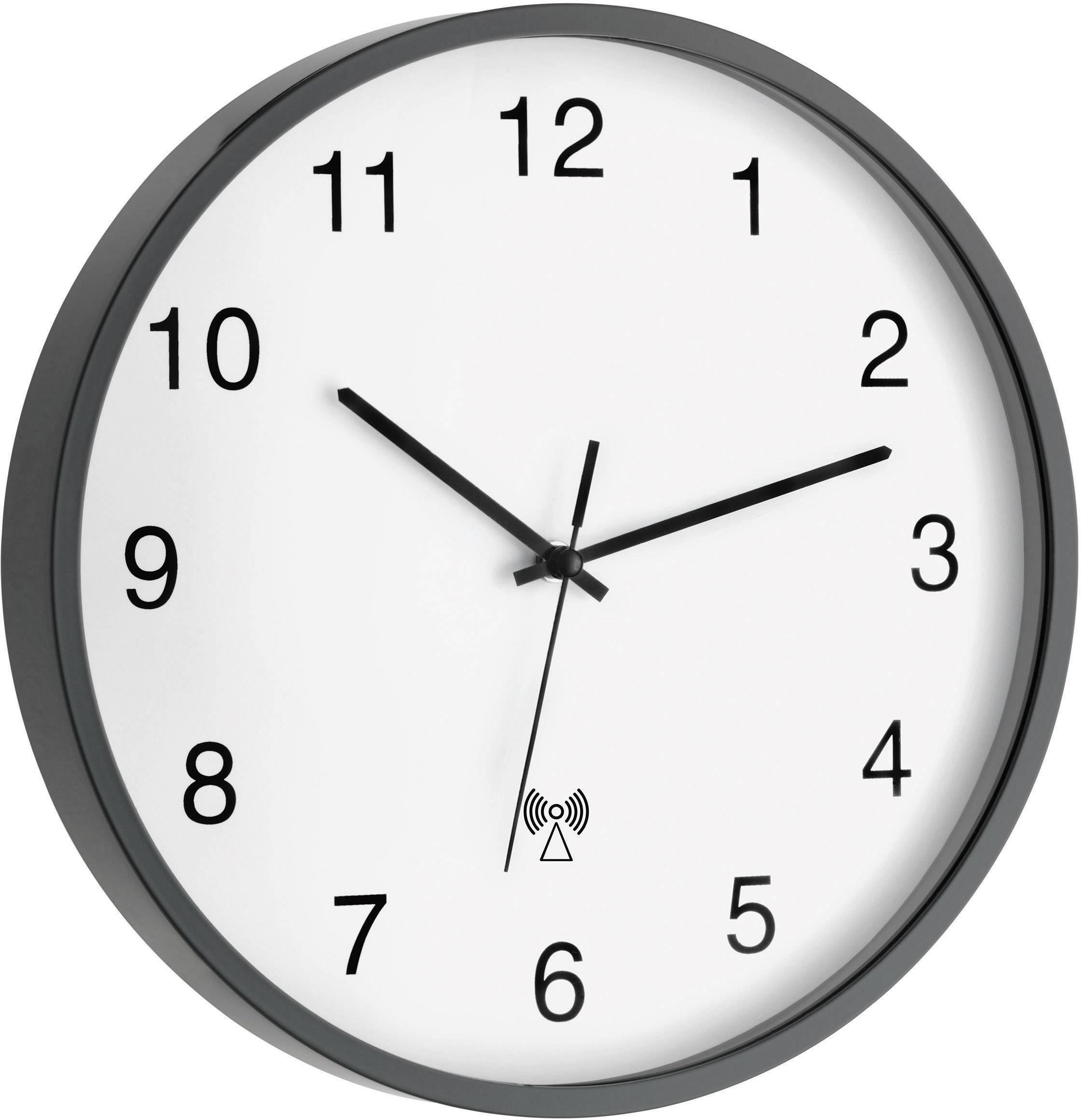Analógové nástenné DCF hodiny Ø 30 cm, čierne
