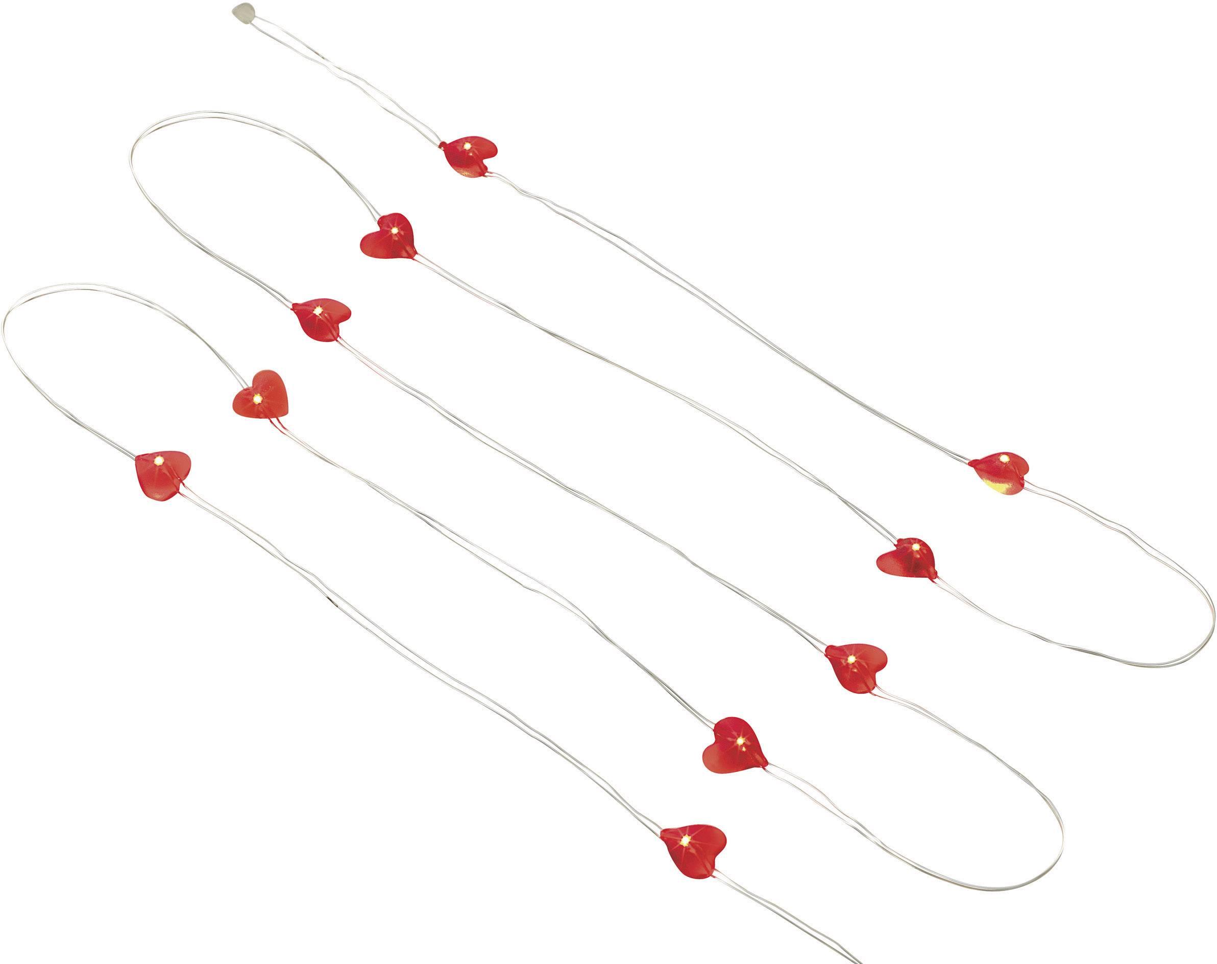 Vnitřní vánoční řetěz Polarlite, motiv srdce, 10 LED, červená