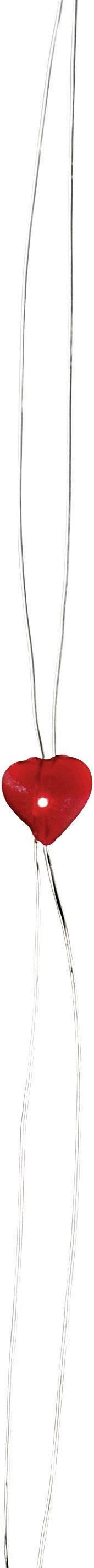 Vnútorná vianočná reťaz, motív srdca, 10 LED, červená