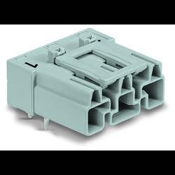 Síťový konektor WAGO zástrčka, vestavná úhlová, počet kontaktů: 3, 25 A, 250 V, šedá, 100 ks