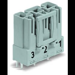 Síťový konektor WAGO zástrčka, vestavná rovná, počet kontaktů: 3, 25 A, 250 V, šedá, 100 ks