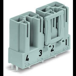 Síťový konektor WAGO zástrčka, vestavná úhlová, počet kontaktů: 4, 25 A, 400 V, bílá, 50 ks