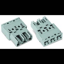 Síťový konektor WAGO zástrčka, rovná, počet kontaktů: 3, 25 A, 250 V, šedá, 100 ks