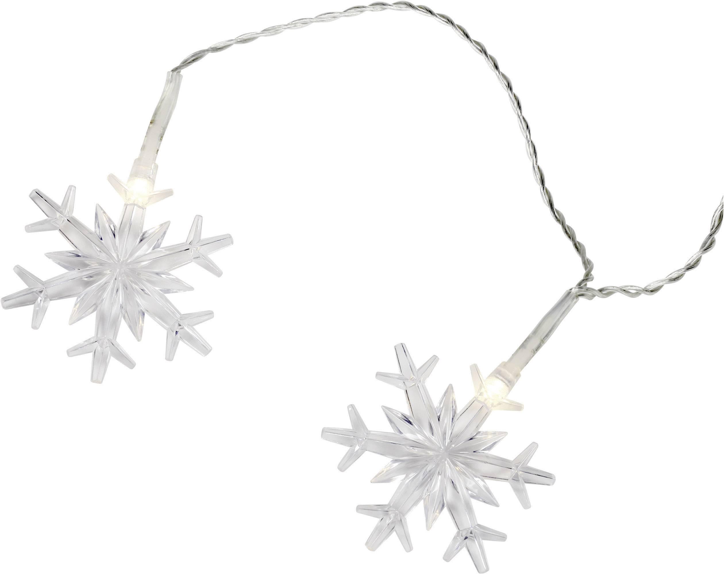 LED mini světelný řetěz s motivem sněhové vločky venkovní 12-C004, 230 V, 12, teplá bílá, 12.2 m