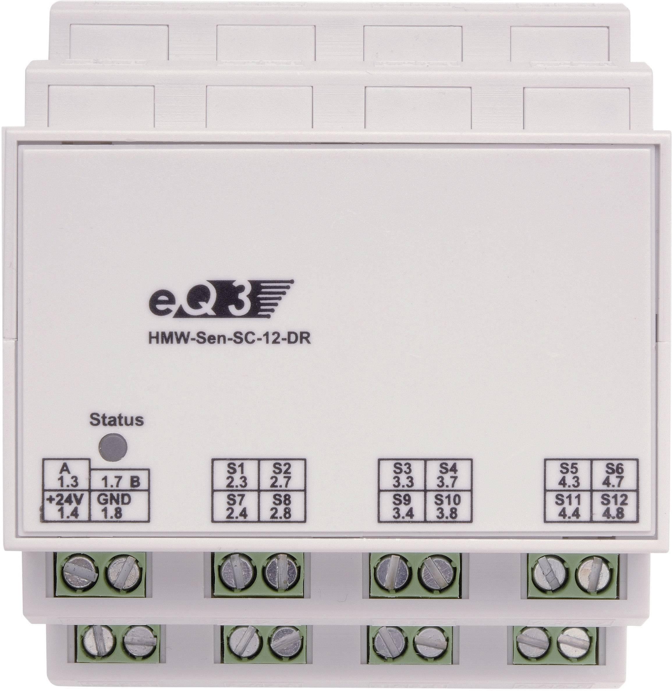 Spínací modul RS485 na DIN lištu HomeMatic HMW-Sen-SC-12-DR, 12 kanálov