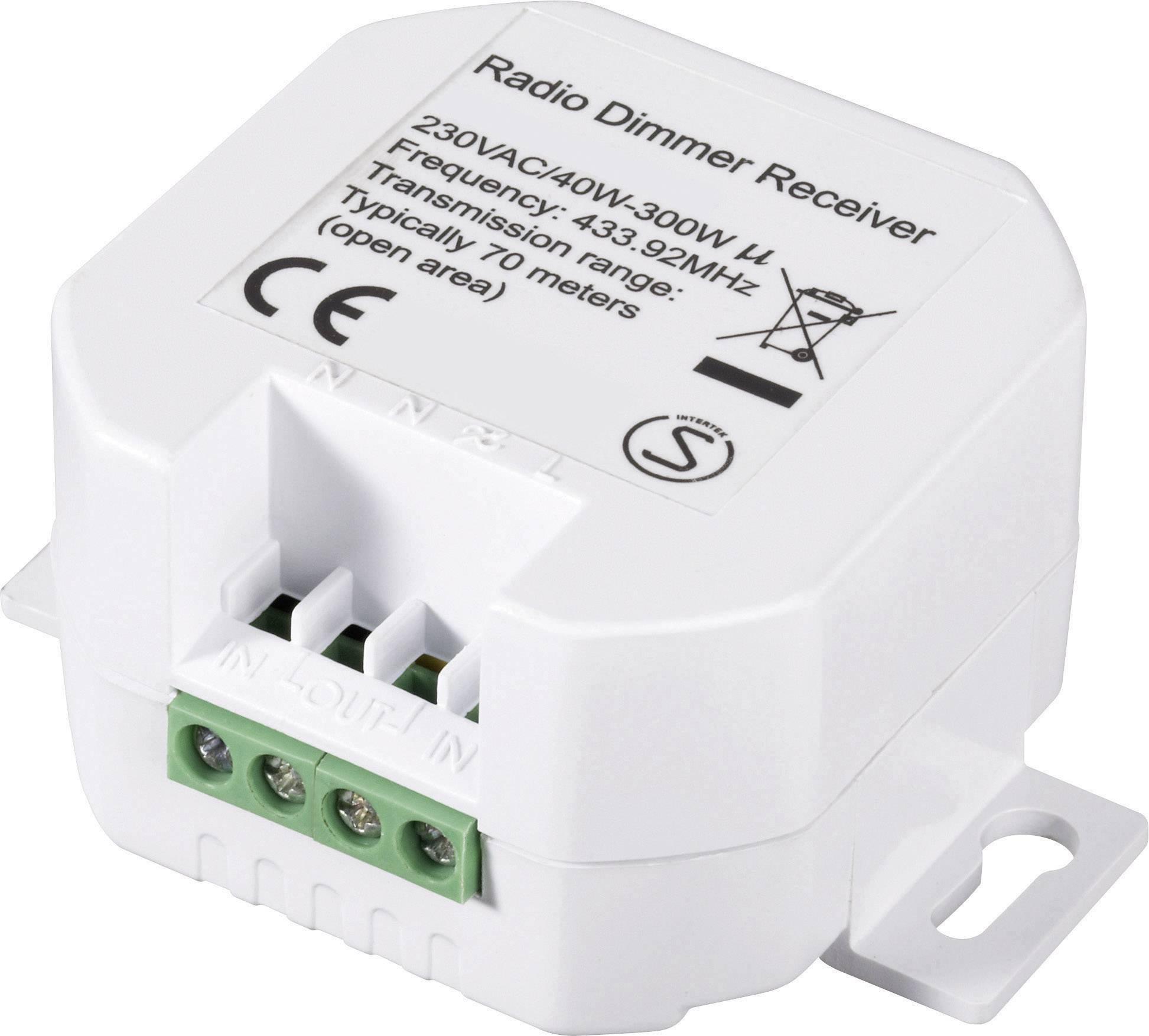 Bezdrôtový vstavaný prepínač so stmievačom RSLRD2, max. 300 W, rozsah 70 m